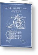 Capps Machine Gun Patent Drawing From 1902 - Light Blue Greeting Card