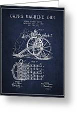 Capps Machine Gun Patent Drawing From 1902 - Navy Blue Greeting Card