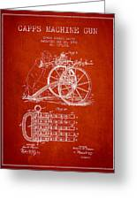 Capps Machine Gun Patent Drawing From 1902 - Red Greeting Card