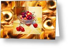 Cappuccino Abstract Collage Cherries Greeting Card
