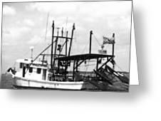 Capt. Jamie - Shrimp Boat - Bw 02 Greeting Card