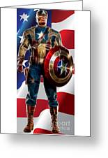 Captain America In Front Of Old Glory Greeting Card