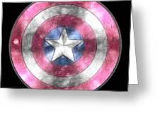 Captain America Shield Digital Painting Greeting Card