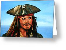 Captain Jack Sparrow Painting Greeting Card