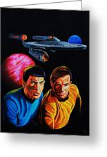 Captain Kirk And Mr. Spock Greeting Card by Robert Steen