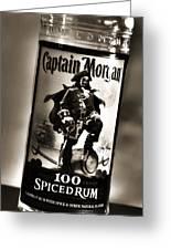 Captain Morgan Black And White Greeting Card