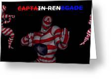 Captain Renegade Super Hero Combating Crime Greeting Card