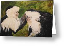 Capuchin Monkeys Charlotte And Samantha Half Proceeds Go To Jungle Friends Primate Sanctuary Greeting Card