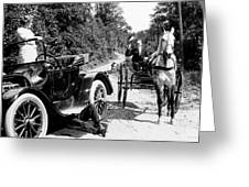 Car And Carriage, 1914 Greeting Card