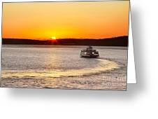 Car Ferry Leaving Steilacoom Greeting Card