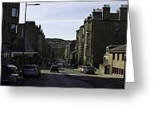 Car In A Queue Waiting For A Signal In Edinburgh Greeting Card