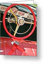 Car Interior Red Seats And Steering Wheel Greeting Card