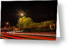 Car Light Trails Greeting Card
