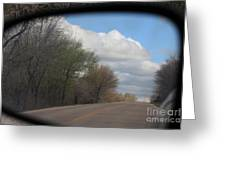 Car Mirror Landscape With Road And Sky. Greeting Card