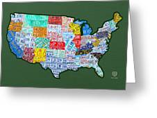 Car Tag Number Plate Art Usa On Green Greeting Card
