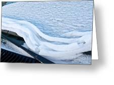 Car Windshield Freshly Fallen Snow Melting Greeting Card