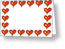 Card Frame Made Of Watercolor Hearts Greeting Card