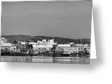 Cardiff Bay Panorama 2 Mono Greeting Card