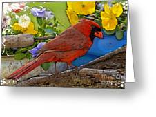 Cardinal With Pansies And Decorations Photoart Greeting Card