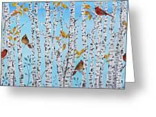 Cardinals Among The Birch-jp2061 Greeting Card