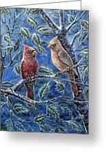 Cardinals And Holly Greeting Card
