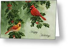 Cardinals Holiday Card - Version Without Snow Greeting Card