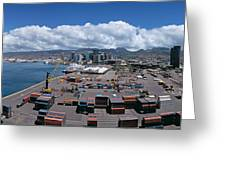 Cargo Containers At A Harbor, Honolulu Greeting Card
