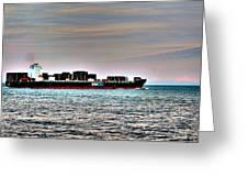 Cargo Ship Near Chesapeake Bay Bridge Tunnel Greeting Card
