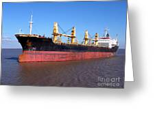 Cargo Ship Greeting Card by Olivier Le Queinec