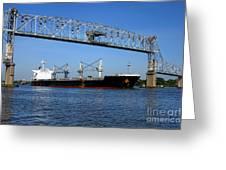 Cargo Ship Under Bridge Greeting Card
