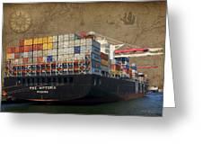 Cargo Vessel Greeting Card