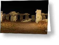 Carhenge At Night Greeting Card
