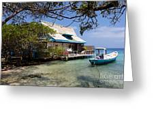 Caribbean House And Boat Greeting Card
