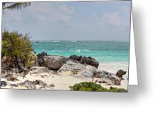 Caribbean Sea And Beach At Tulum Greeting Card