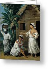 Caribbean Women In Front Of A Hut Greeting Card