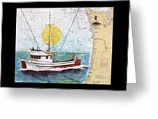 Carina Trawl Fishing Boat Nautical Chart Map Art Greeting Card