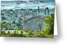 Carnival - The Thrill Ride Greeting Card by Mike Savad