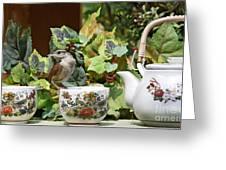 Carolina Wren And Tea Cups Greeting Card