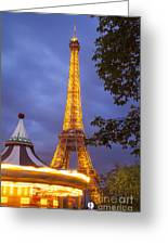 Carousel And Eiffel Tower Greeting Card
