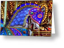 Carousel Beauty Blue Charger Greeting Card