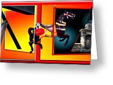 Carousel Horse Fireman 04 In Teal Greeting Card