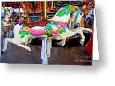 Carousel Horse With Flower Drape Greeting Card