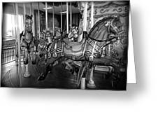 Carousel Horses In Black And White Greeting Card