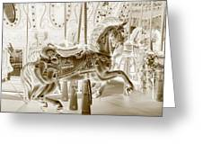 Carousel In Negative Sepia Greeting Card