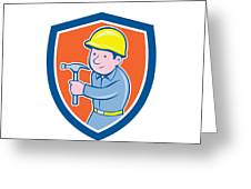 Carpenter Builder Hammer Shield Cartoon Greeting Card