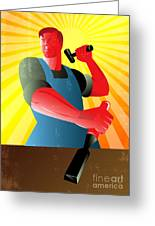 Carpenter Striking Hammer Chisel Poster Retro Greeting Card