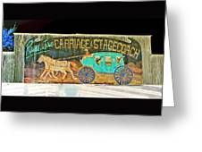 Carriage And Stagecoach Sign Greeting Card