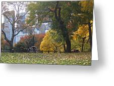 Carriage Ride Central Park In Autumn Greeting Card