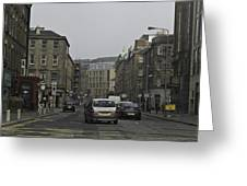 Cars And Buildings On The Streets Of Edinburgh Greeting Card