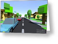 Cars Driving Suburban Streets   Greeting Card